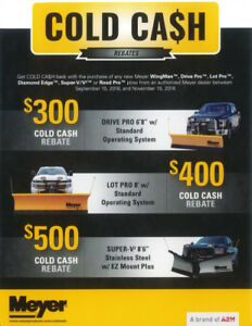 Meyer - Cold Cash Rebates - up to $500 USD on Meyer snow plows