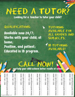 Tutoring Available- all levels, all grades, all subjects!