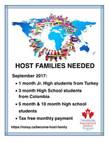 PUGWASH - 1 month host families needed (September 2017)