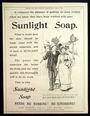 1904 Vintage Sunlight Soap (Lever Bros) print ad couple walking in town