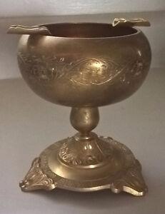 Vintage Etched Brass Pedestal Ashtray