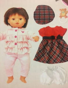 "BABY 14"" DOLL with CLOTHING AND DOLL CRIB"