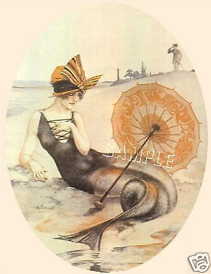 Fairy Fantasy Canvas Art - ART DECO MERMAID PARASOL FAIRY FANTASY CANVAS ART PRINT