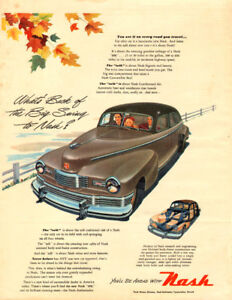 1947 large, full-page magazine ad for Nash Automobiles