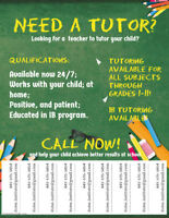 IB Tutoring Available- All subjects, All Grades!
