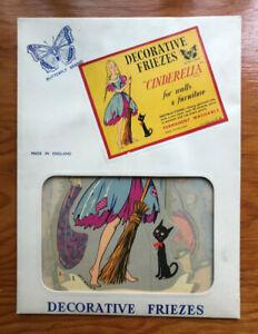 """Vintage GUMMED WALL DECALS SET, """"Cinderella"""" (NOS) Butterfly, En"""