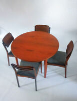 60's Sweden Table with Set of Four Vintage Chairs