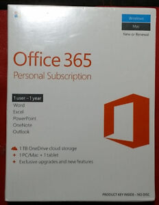 MICROSOFT OFFICE 365 ONE USER ONE YEAR  SEALED BOX