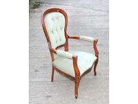 High Backed Armchair Ornate Wooden Frame Green Velour