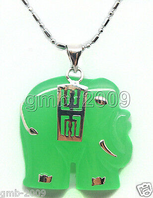 Natural Emerald Green Jade 18K Silver Plated Elephant Pendant Necklace Chain for sale  Shipping to Canada