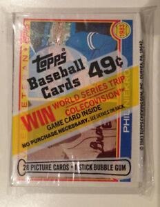 1983 Topps Cello pack factory sealed baseball cards.