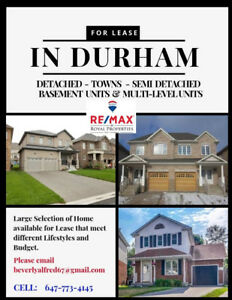 For Lease in Pickering - Ajax - Whitby - Oshawa