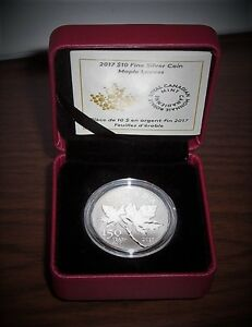Canada's 150th Birthday - Maple Leaves - $10 Pure Silver Coin