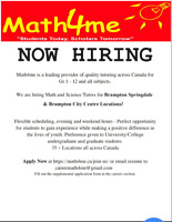 Tutor Wanted for Math English French - 3 locations Brampton