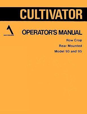 Allis Chalmers 93 95 Rc Cultivator Operators Manual