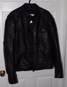 Men's Angora Heavy Insulated Leather Motor Cycle Jacket Size L