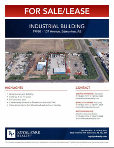 6000 SQ FT Industrial Building For Sale Lease