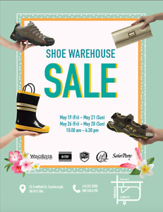 Warehouse Shoe Sale! $3+ Fri-Sun 10am - 4:30pm May 19-21 & 26-28