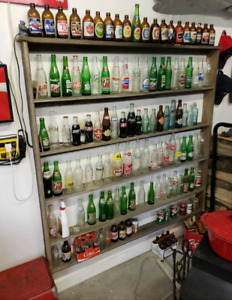 Excllent bottle collection and Display Barn board Shelf