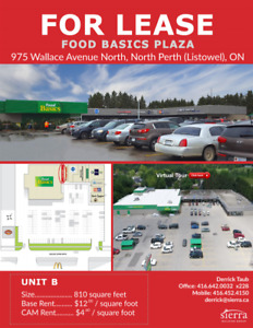 Commercial Space for Lease in Grocery Anchored Shopping Centre