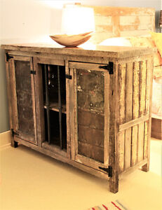 RUSTIC BUFFET CABINET WITH ANTIQUE TIN DOORS, HAND CRAFTED