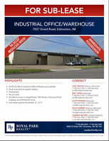 Industrial Office/Warehouse for Sub-Lease