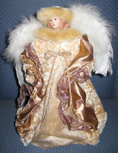 "12"" Gold & White Tree Topper Angel with Porcelain Face and Hands"