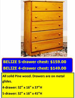TERRIFIC VALUES IN SOLID WOOD FURNITURE. 5-DRAWER CHEST