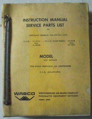 Wabco Model 250 Rotary Portable Air Compressor Service Manual Parts List
