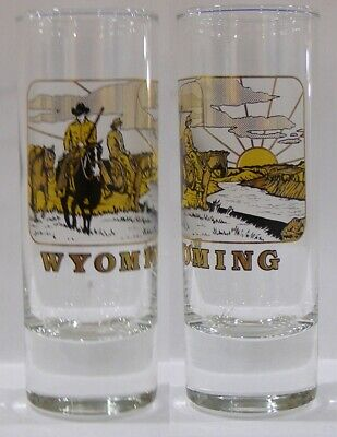 Cowboys Shot Glass (Wyoming Cowboys In Countryside At Sunset Tall Shot Glass)