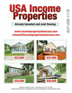 RENOVATED AND TENANTED USA PROPERTIES from $22,000