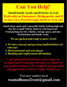 2 Adults Looking for house or 1/2 house to rent Ennis, BGNH, PTB