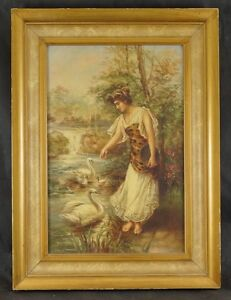 Framed VICTORIAN Oil and Canvas WOMAN with Swans