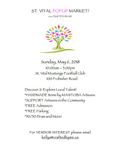 *FREE ADMISSION - The St. Vital Craft Sale - May 6, 2018