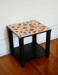 PETITE TABLE BASSE NOIRE, mosaïque