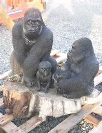 Gorilla family set of animals stone garden ornament