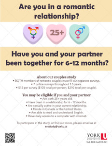 Early Relationships Overtime Study (LOOKING FOR PARTICIPANTS)