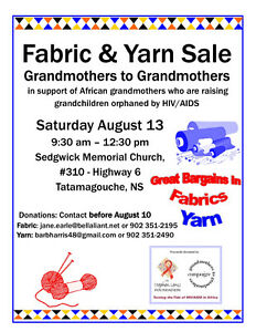 Fabric & Yarn for Giant Sale to Benefit African Grandmoth