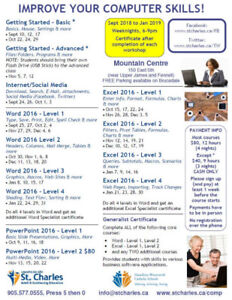 Excel 2016  (4 Levels) Night Computer Workshops at St. Charles