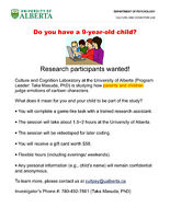 Do you have a 9 Y.O. child? Research participants wanted!