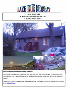 Large Lake Erie Cottage beside Rock Point Park Lake Erie $1600/w