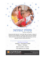 Music Pups classes for parents and toddlers, at Long & McQuade!