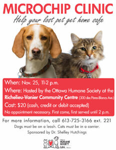 Microchip Clinic hosted by the Ottawa Humane Society