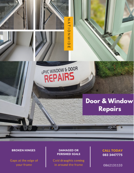 Windows fixed, draughts sealed, glass and glazing replaced, patio and french door repairs