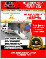 QUEST MOVERS AND STORAGE CALL US 780 263 7323.