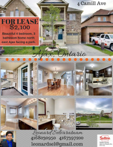 Gorgeous 4 bedroom 3 bathroom Ajax home for lease. Perfect home!