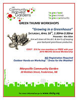 """""""GROWING IN A GREENHOUSE"""" Workshop"""