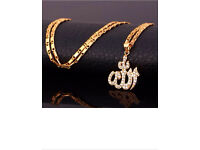 Islamic Allah Pendant Necklace CZ 18K Gold Plated (not solid gold)