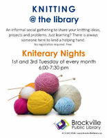 KNITERARY NIGHTS @ THE BROCKVILLE PUBLIC LIBRARY