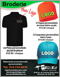 BRODERIE SHIRT-POLO-TUQUE-CHANDAIL